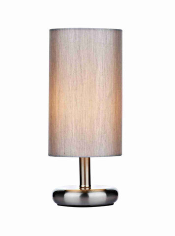 Dar Wisebuys TIC4139 Tico Touch Table Lamp Satin Chrome complete with Grey Shade