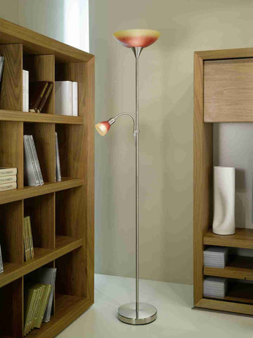 Eglo Lighting 86654 UP 4 Floor Lamp w.reading-lamp nickel-m/red-orange'UP