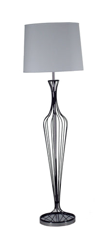 Elegant Floor Lamp In Black Chrome With A Large Shade Available in 10 Colours