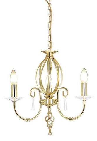 Elstead AG3 POL BRASS Aegean 3Lt Chandelier Polished Brass