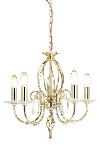 Elstead AG5 POL BRASS Aegean 5Lt Chandelier Polished Brass