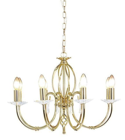 Elstead AG8 POL BRASS Aegean 8Lt Chandelier Polished Brass