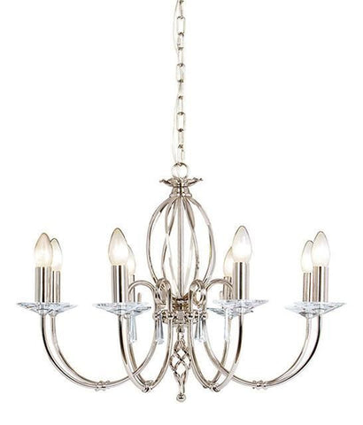 Elstead AG8 POL NICKEL Aegean 8Lt Chandelier Polished Nickel