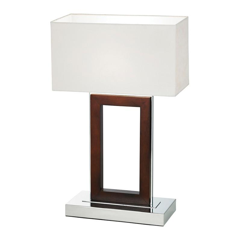 Endon Lighting 0195-DW Portal Table Lamp 60W Dark Wood & Cream Faux Suede-Endon Lighting-DC Lighting Ltd