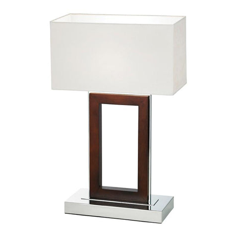 Endon Lighting 0195-DW Portal Table Lamp 60W Dark Wood & Cream Faux Suede