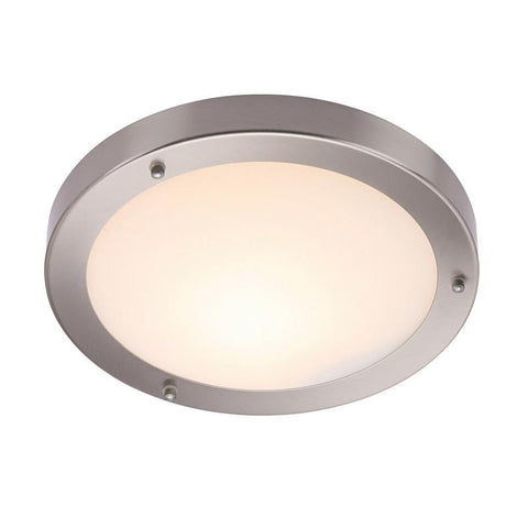 Endon Lighting 12421 Portico 300mm Flush IP44 60W Satin Nickel Effect Plate & Frosted Glass