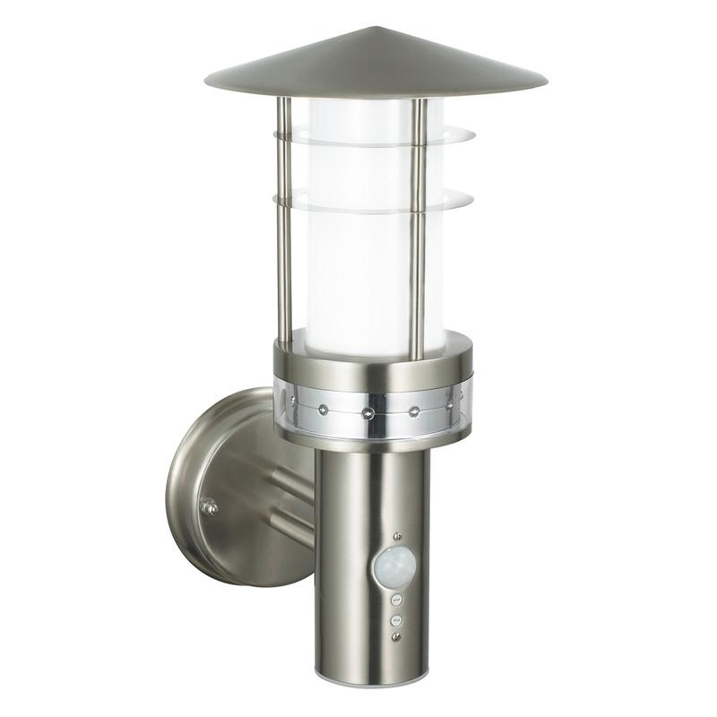 Endon Lighting 13924 Pagoda PIR 1lt Wall Light IP44 9.2W & 0.05W Brushed Stainless Steel & Frosted Polycarbonate-Endon Lighting-DC Lighting Ltd