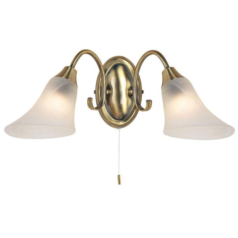 Endon Lighting 144-2AN Hardwick 2lt Wall Light 40W Antique Brass Effect Plate & Frosted Glass