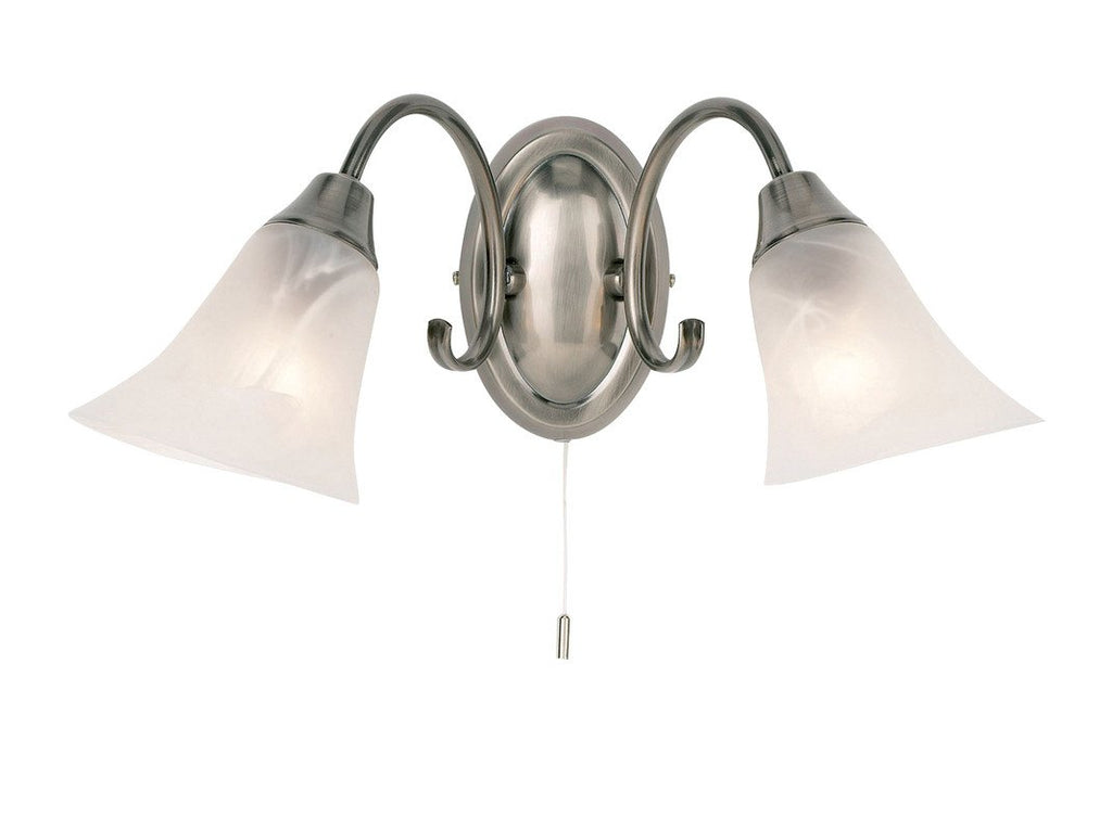 Endon Lighting 144-2AS Hardwick 2lt Wall Light 40W Antique Silver Effect Plate & Frosted Glass-DC Lighting Ltd