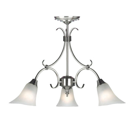 Endon Lighting 144-3AS Hardwick 3lt Pendant 40W Antique Silver Effect Plate & Frosted Glass