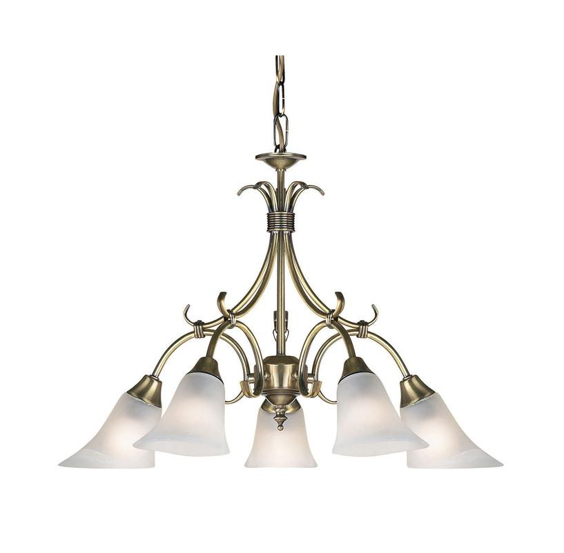 Endon Lighting 144-5AN Hardwick 5lt Pendant 40W Antique Brass Effect Plate & Frosted Glass-DC Lighting Ltd