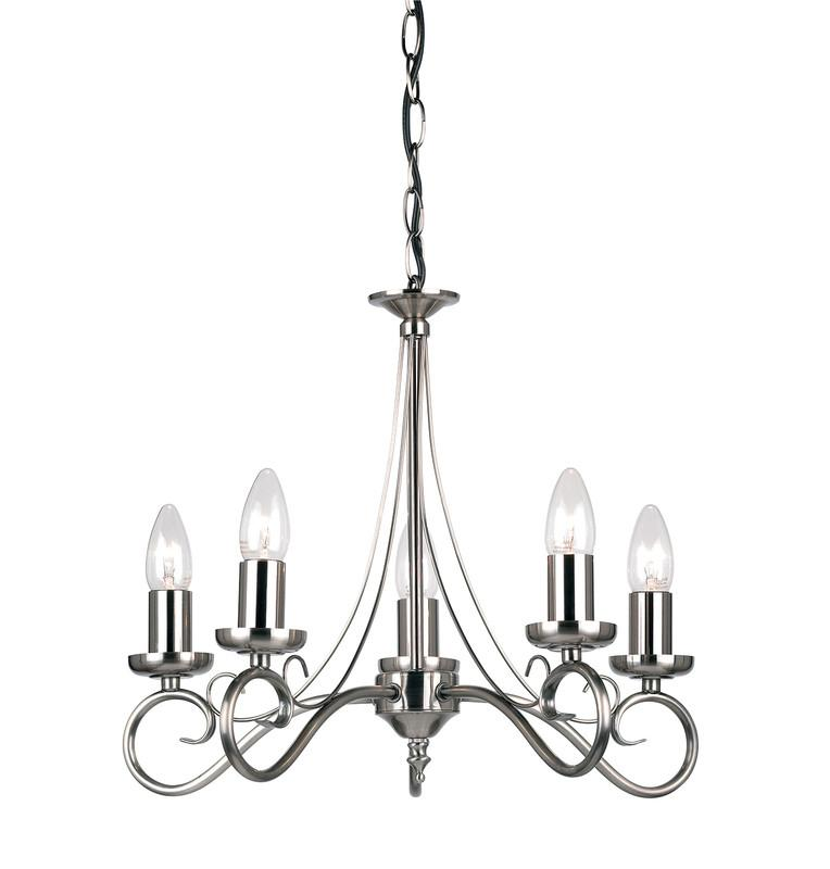 Endon Lighting 180-5AS Trafford 5lt Pendant 60W Antique Silver Effect Plate-Endon Lighting-DC Lighting Ltd