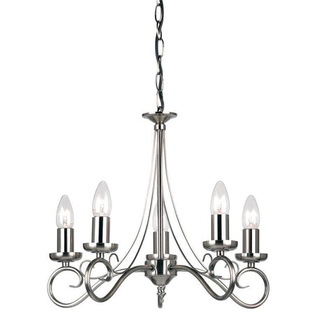 Endon Lighting 180-5AS Trafford 5lt Pendant 60W Antique Silver Effect Plate