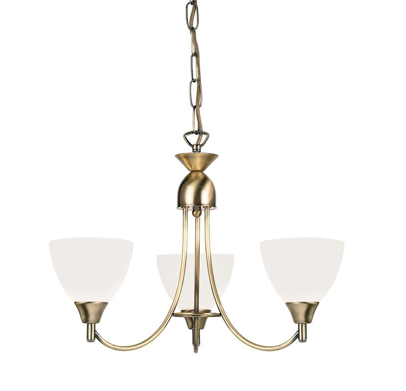 Endon Lighting 1805-3AN Alton 3lt Pendant 60W Antique Brass Effect Plate & Matt Opal Glass-Endon Lighting-DC Lighting Ltd
