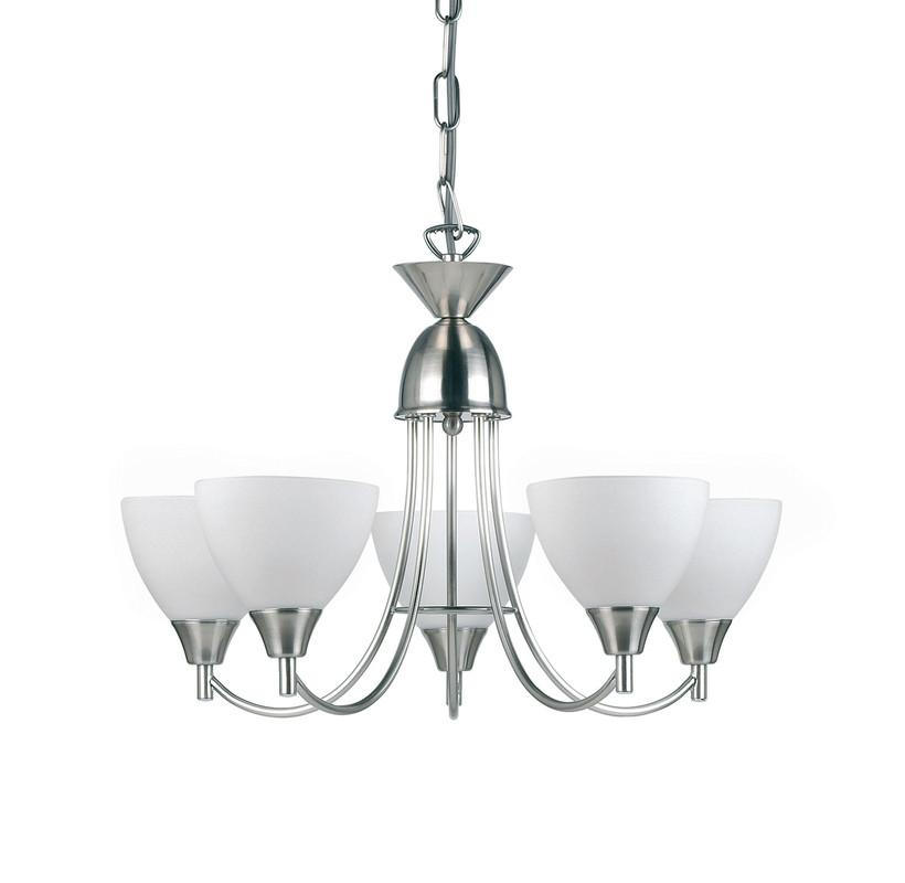 Endon Lighting 1805-5SC Alton 5lt Pendant 60W Satin Chrome Effect Plate & Matt Opal Glass-Endon Lighting-DC Lighting Ltd