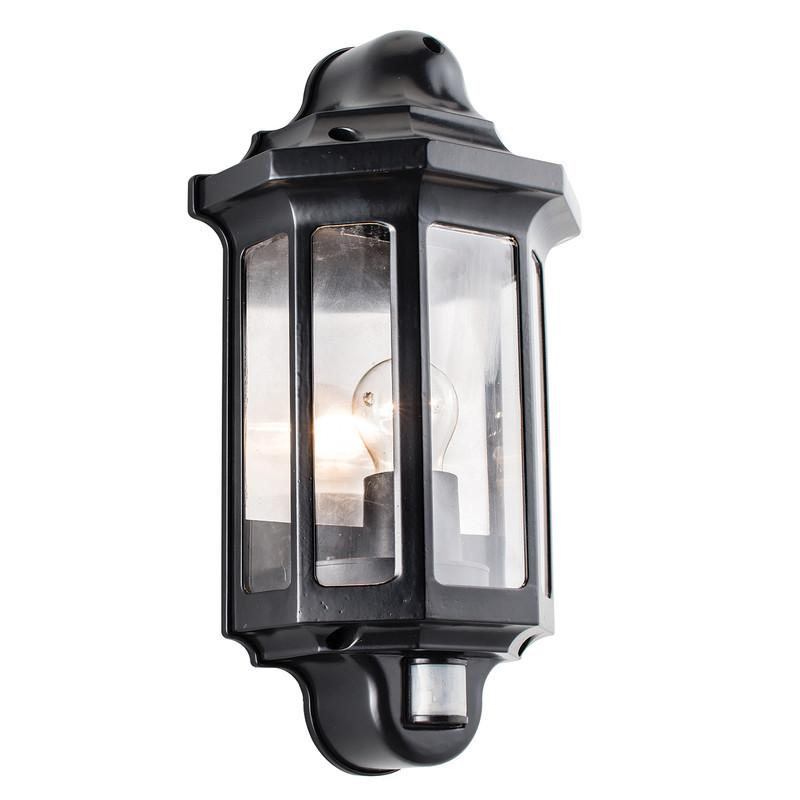 Endon Lighting 1818PIR Traditional PIR Half Lantern IP44 60W Satin Black Paint & Clear Polycarbonate-Endon Lighting-DC Lighting Ltd