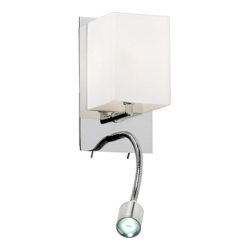 Endon Lighting 20010-WBCH Cava 1lt Wall Light 33W & 3W Chrome Effect Plate & Opal Glass-Endon Lighting-DC Lighting Ltd