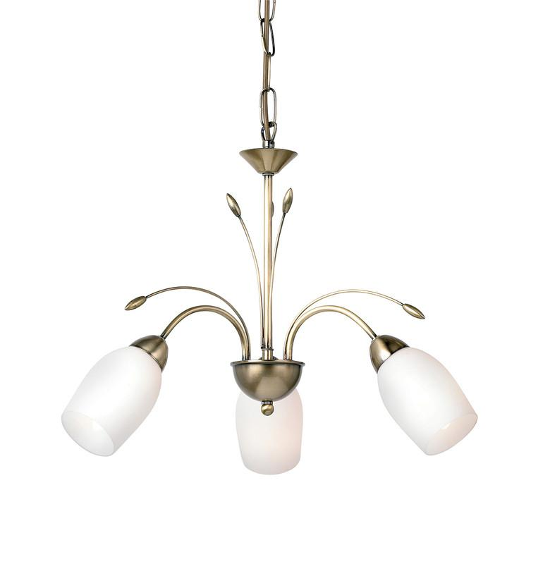 Endon Lighting 2007-3AN Meadow 3lt Pendant 40W Antique Brass Effect Plate & White Glass-Endon Lighting-DC Lighting Ltd
