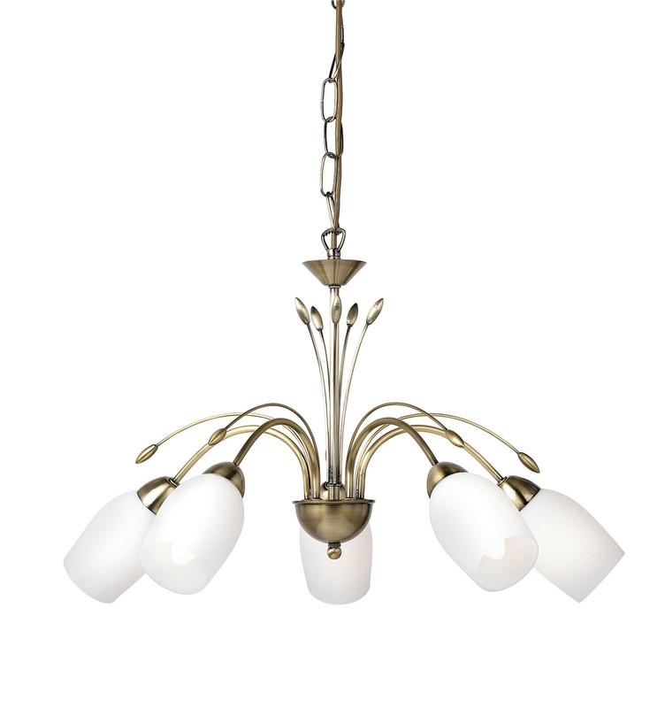 Endon Lighting 2007-5AN Meadow 5lt Pendant 40W Antique Brass Effect Plate & White Glass-Endon Lighting-DC Lighting Ltd