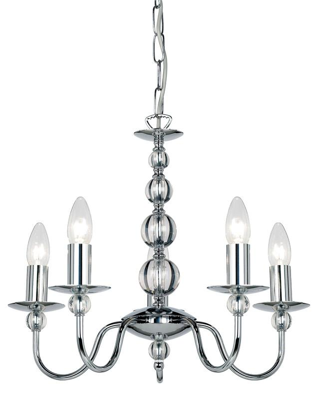 Endon Lighting 2013-5CH Parkstone 5lt Pendant 60W Chrome Effect Plate & Clear Glass-DC Lighting Ltd