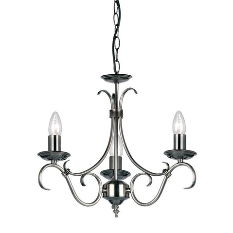 Endon Lighting 2030-3AS Bernice 3lt Pendant 60W Antique Silver Effect Plate