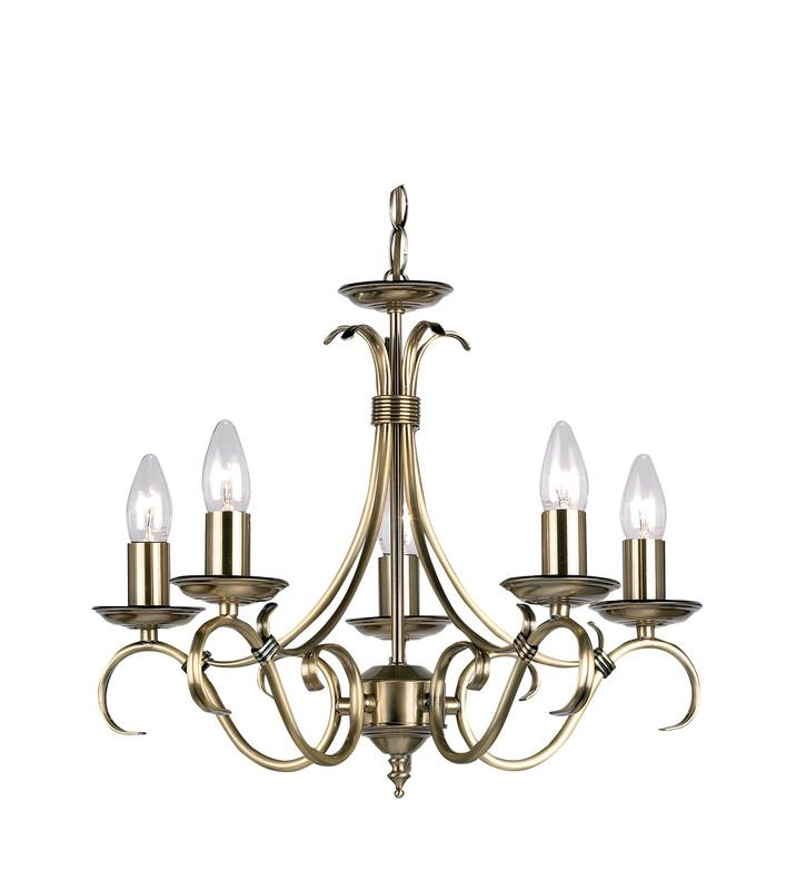 Endon Lighting 2030-5AN Bernice 5lt Pendant 60W Antique Brass Effect Plate-Endon Lighting-DC Lighting Ltd