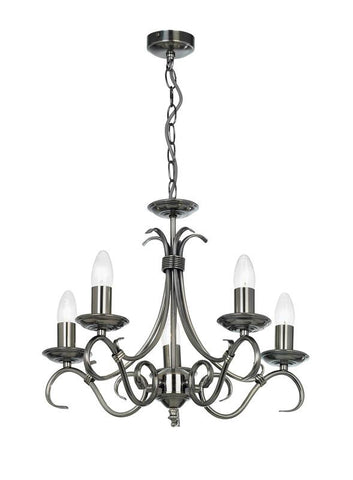 Endon Lighting 2030-5AS Bernice 5lt Pendant 60W Antique Silver Effect Plate
