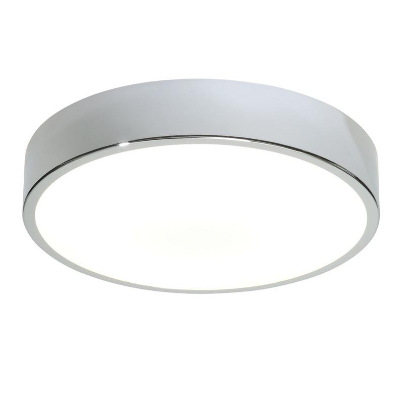 Endon Lighting 28506 Lipco 300mm Flush HF IP44 28W Chrome Effect Plate & Matt White Acrylic-Endon Lighting-DC Lighting Ltd