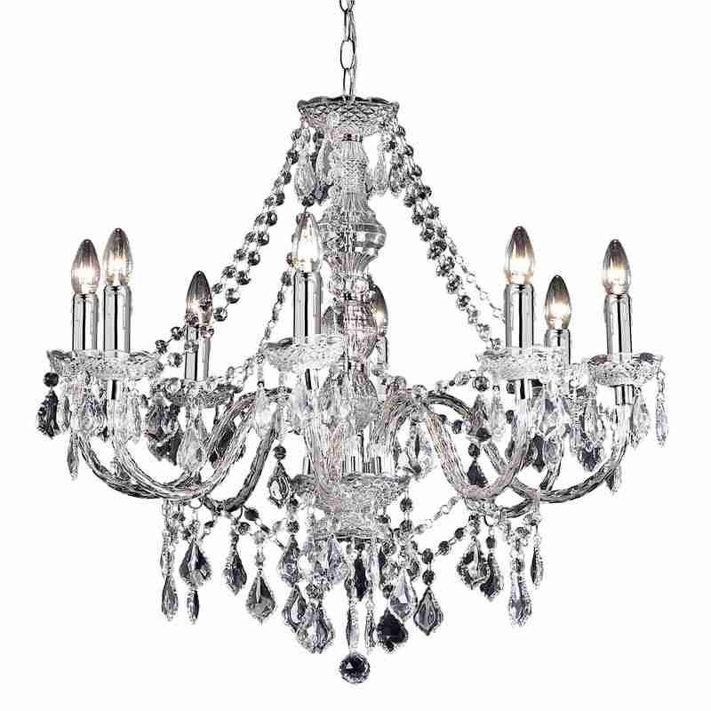 Endon Lighting 308-8CL Clarence 8lt Pendant 60W Clear Acrylic & Chrome Effect Plate-DC Lighting Ltd