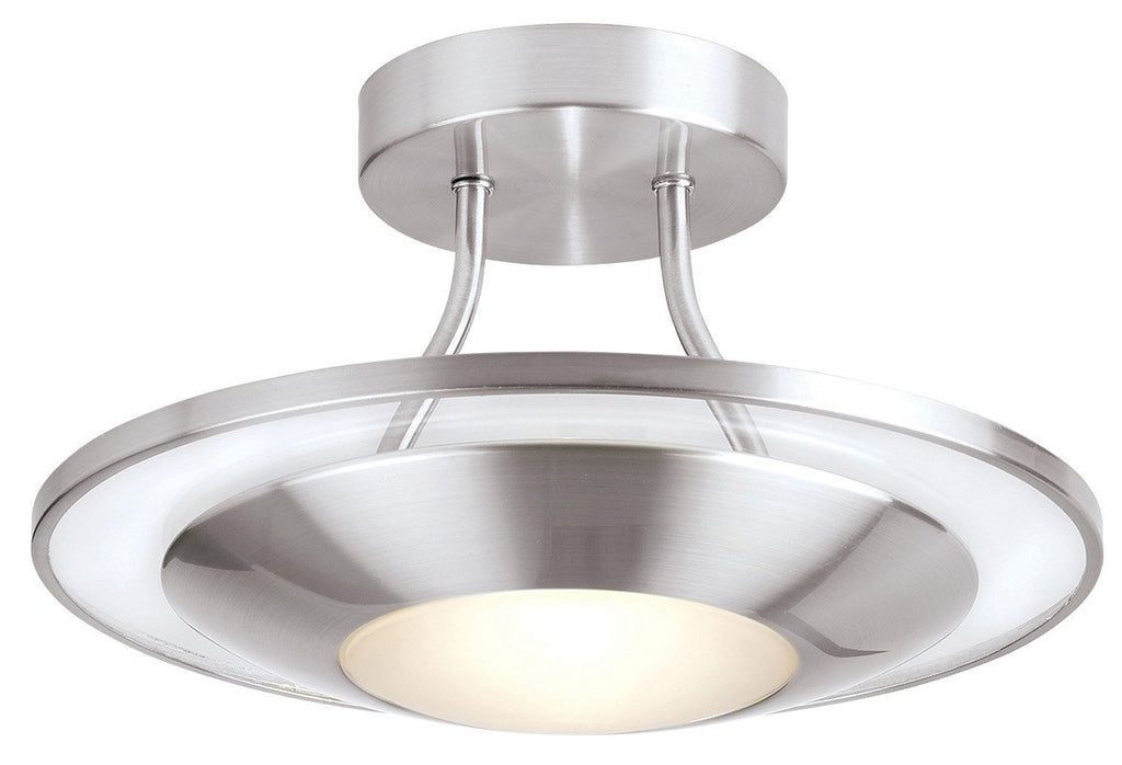 Endon Lighting 387-30SC Firenz 1lt Semi Flush 120W Satin Chrome Effect Plate With Clear & Frosted Glass-DC Lighting Ltd