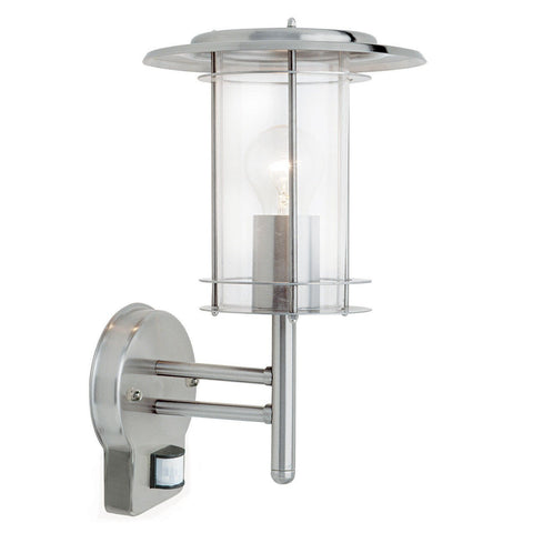 Endon Lighting 4479782 York PIR 1lt Wall Light IP44 60W Polished Stainless Steel & Clear Polycarbonate