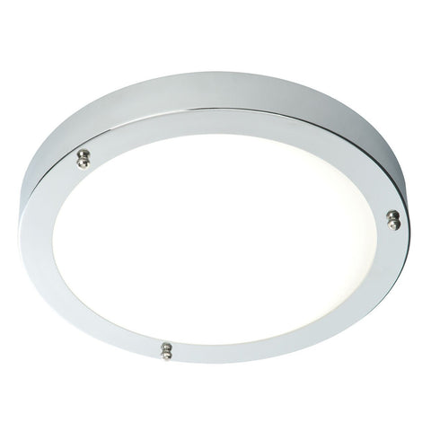 Endon Lighting 59850 Portico 300mm Flush IP44 60W Chrome Effect Plate & Frosted Glass