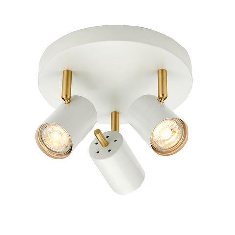 Endon Lighting 59932 Gull 3lt Round 3.5W Matt White Paint & Satin Brushed Gold Effect Plate