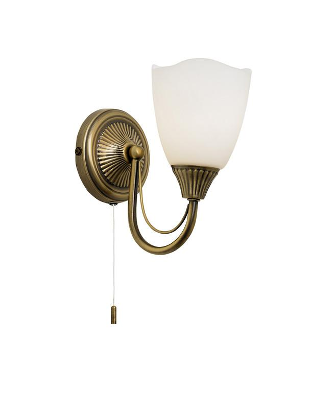 Endon Lighting 601-1AN Haughton 1lt Wall Light 60W Antique Brass Effect Plate & Opal Glass-Endon Lighting-DC Lighting Ltd
