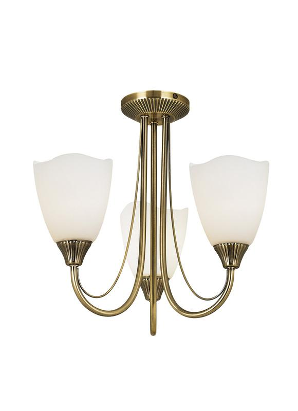Endon Lighting 601-3AN Haughton 3lt Semi Flush 60W Antique Brass Effect Plate & Opal Glass-Endon Lighting-DC Lighting Ltd