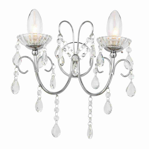 Endon Lighting 61385 Tabitha 2lt Wall Light IP44 18W Clear Crystal (K9) Glass Detail & Chrome Effect Plate
