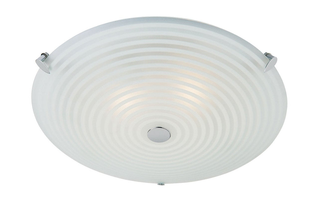 Endon Lighting 633-32 Roundel 2lt Flush 40W Frosted White & Clear Patterned Glass With Chrome Effect Plate-Endon Lighting-DC Lighting Ltd