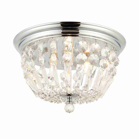 Endon Lighting 68814 Thorpe 3lt Flush IP44 18W Chrome Effect Plate & Clear Crystal Detail