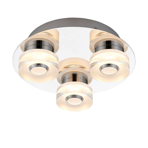 Endon Lighting 68911 Rita 3lt Flush IP44 4.5W & 0.45W Chrome Effect Plate & Frosted Acrylic