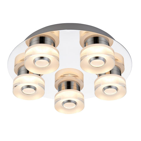 Endon Lighting 68913 Rita 5lt Flush IP44 4.5W & 0.45W Chrome Effect Plate & Frosted Acrylic