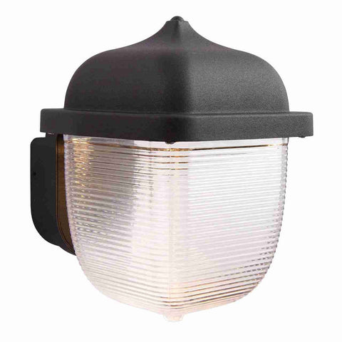 Endon Lighting 70191 Heath 1lt Wall Light IP44 7W Textured Black Paint & Frosted Polycarbonate