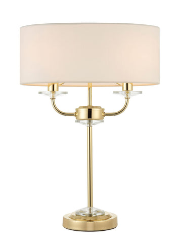 Endon Lighting 70564 Nixon 2lt Table Lamp 40W Brass Effect Plate & Vintage White Faux Silk
