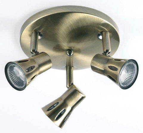 Endon Lighting 813-AN Krius 3lt Round 50W Antique Brass Effect Plate