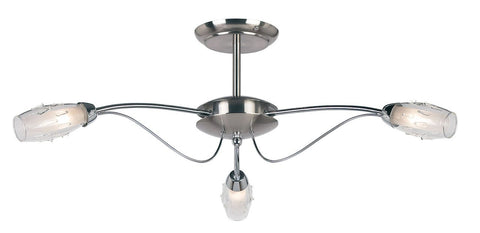 Endon Lighting 9009-3SC Mercury 3lt Semi Flush 33W Satin Chrome Effect Plate & Clear Glass With Acid Inner