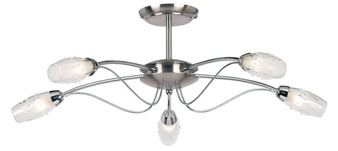 Endon Lighting 9009-5SC Mercury 5lt Semi Flush 33W Satin Chrome Effect Plate & Clear Glass With Acid Inner
