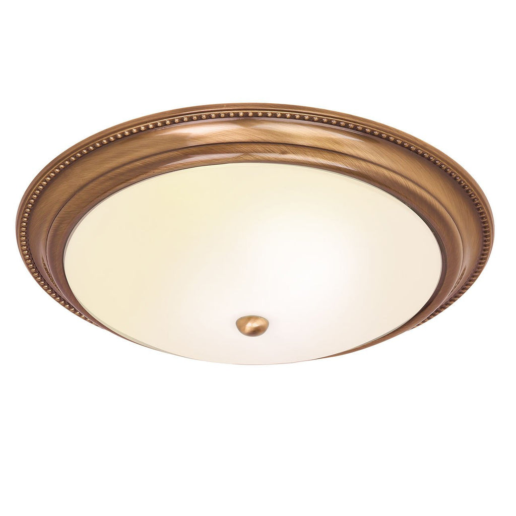Endon Lighting 91121 Atlas 2lt Flush 40W Antique Brass Effect Plate & Acid Etched Glass-DC Lighting Ltd