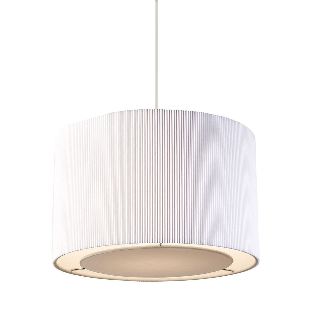 Endon Lighting 96043-WH Colette Non Electric 60W White Fabric & Chrome Effect Plate-DC Lighting Ltd