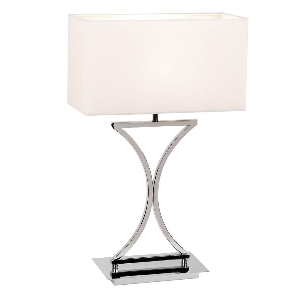 Endon Lighting 96930-TLCH Epalle Table Lamp 60W Chrome Effect Plate & White Fabric-Endon Lighting-DC Lighting Ltd