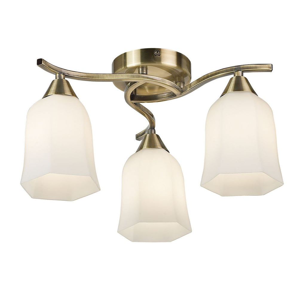 Endon Lighting 96973-AB Alonso 3lt Semi Flush 40W Antique Brass Effect Plate & Matt Opal Glass-DC Lighting Ltd