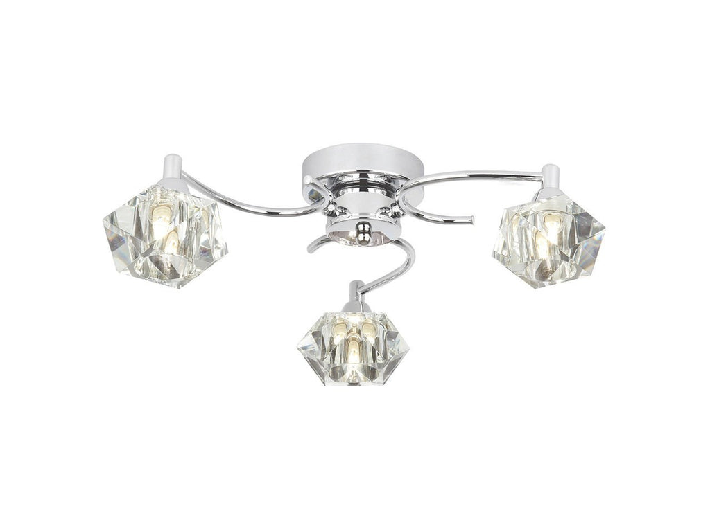 Endon Lighting ARIETTA-3FCH Arietta 3lt Semi Flush Down 33W Chrome Effect Plate & Clear Glass-DC Lighting Ltd